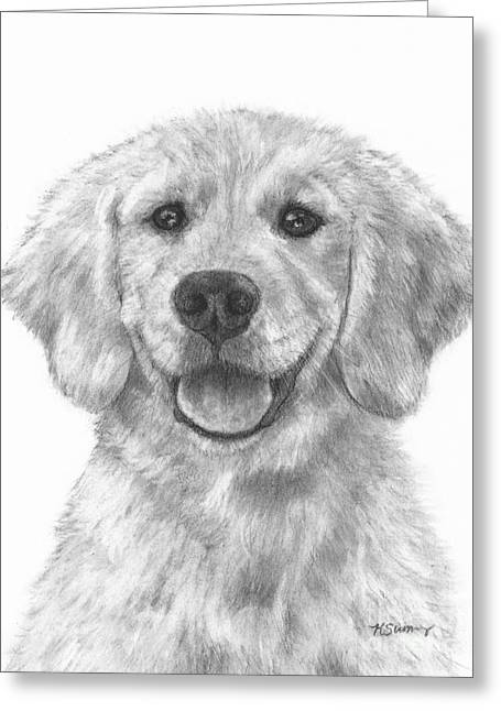 Groomer Art Greeting Cards - Puppy Golden Retriever Greeting Card by Kate Sumners