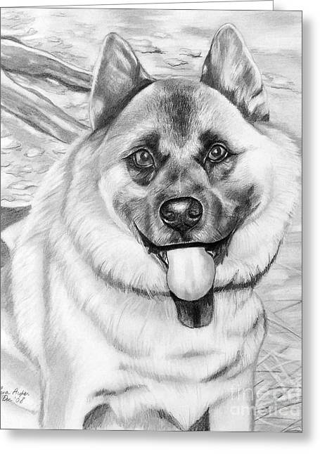 Puppies Drawings Greeting Cards - Puppy is His Name Greeting Card by Lena Auxier