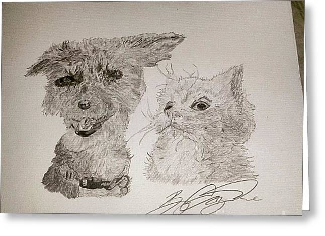 Puppies Drawings Greeting Cards - Puppy Kitten Greeting Card by Corey Wise