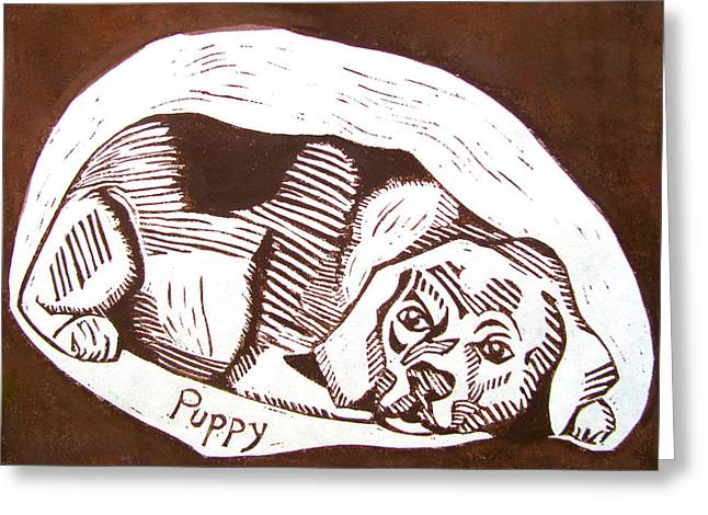 Puppies Mixed Media Greeting Cards - Puppy Greeting Card by Linda Williams
