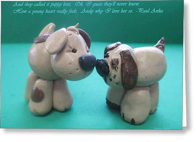 Puppy Love Greeting Card by Barbara Snyder
