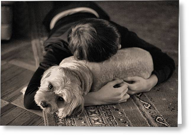 Dog Photographs Greeting Cards - Puppy Love BW Greeting Card by JC Findley