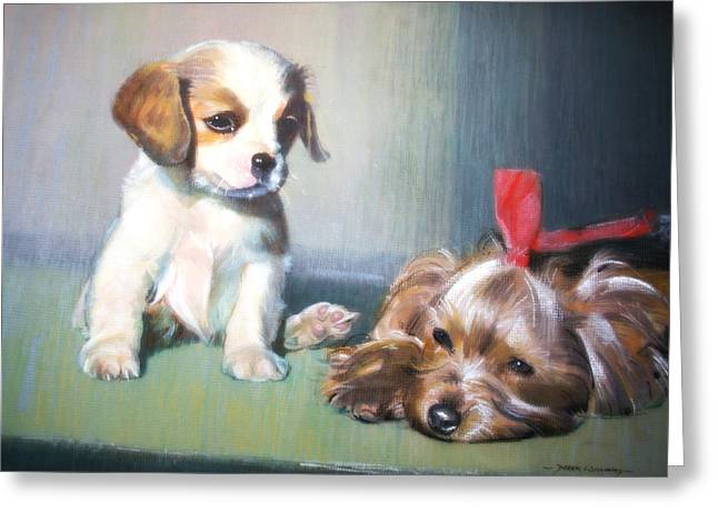 Puppies Pastels Greeting Cards - Puppy Love Greeting Card by Derek Williams RBSA FRSA