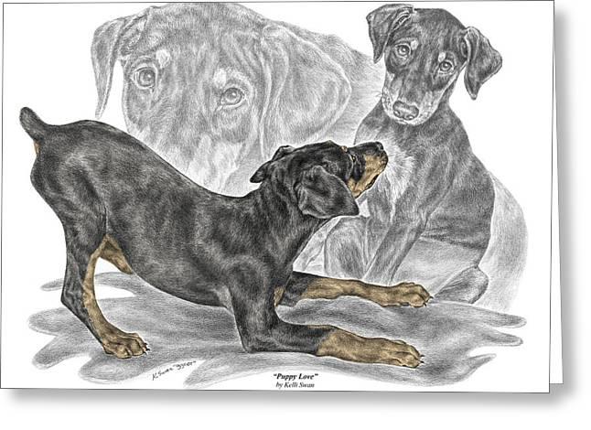 Doberman Pinscher Puppy Greeting Cards - Puppy Love - Doberman Pinscher Pup - color tinted Greeting Card by Kelli Swan