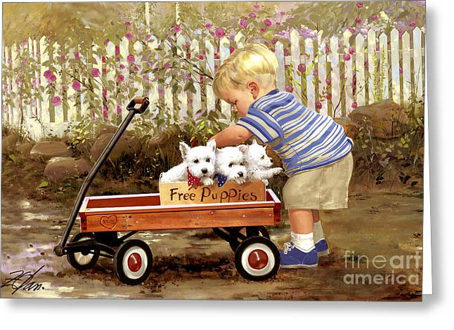Little Boy Greeting Cards - Puppy Love Greeting Card by Donald Zolan