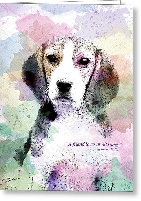 Puppies Digital Art Greeting Cards - Puppy Love Greeting Card by Gary Bodnar