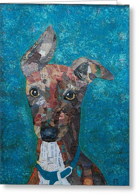 Puppies Mixed Media Greeting Cards - Puppy Love Greeting Card by Julie  Mortillaro