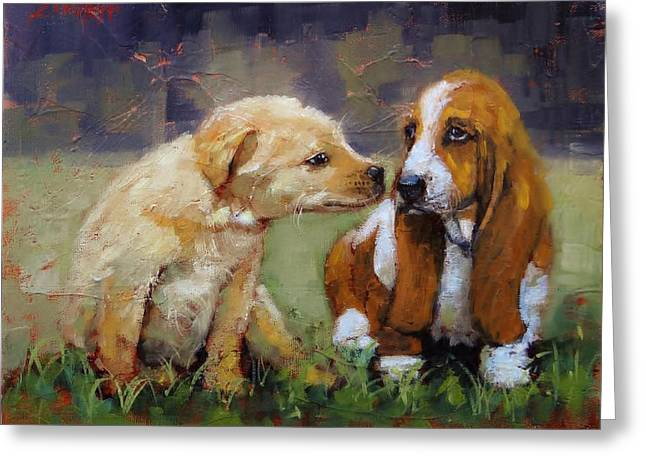 Precious Paintings Greeting Cards - Puppy Love Greeting Card by Laura Lee Zanghetti