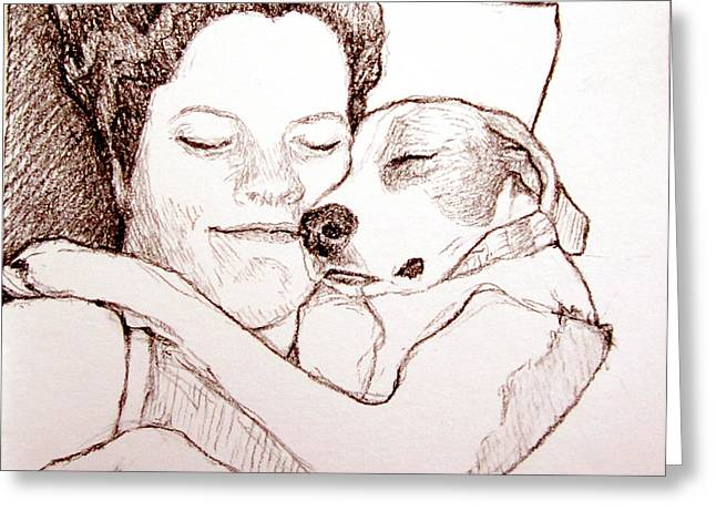 Puppies Drawings Greeting Cards - Puppy Love Greeting Card by Lorraine Zaloom