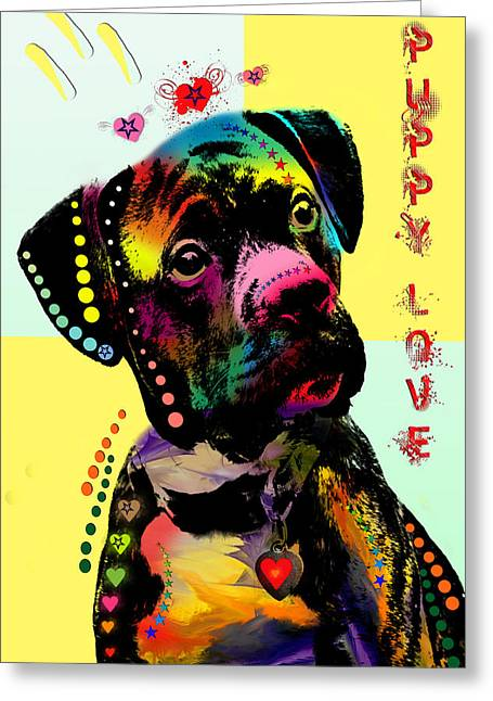 Dog Abstract Art Greeting Cards - Puppy Love Greeting Card by Mark Ashkenazi