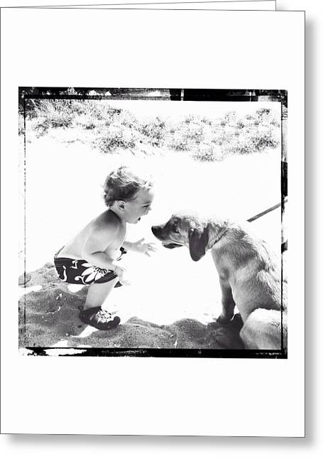 Little Boy Greeting Cards - Puppy Love Greeting Card by Natasha Marco