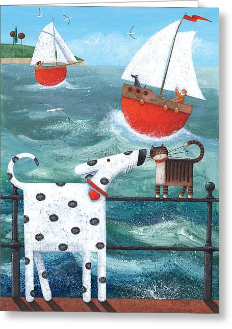 Animals Love Greeting Cards - Puppy Love Greeting Card by Peter Adderley