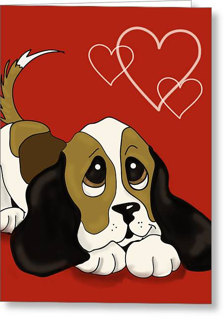 Puppy Love Greeting Cards - Puppy Love valentine Greeting Card by Irma Mason