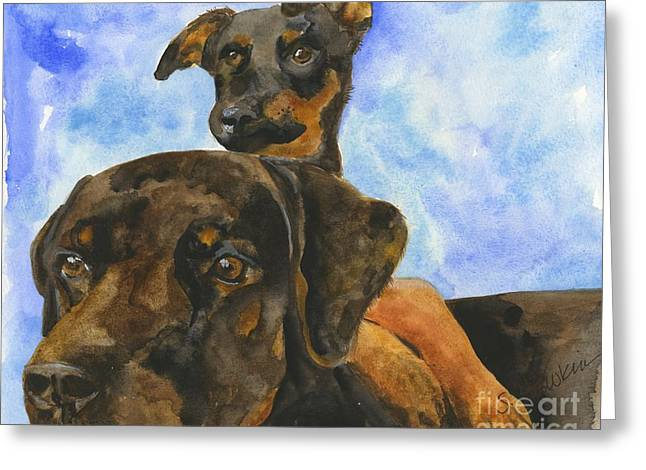 Rottweiler Puppy Greeting Cards - Puppy Pals Greeting Card by Sheryl Heatherly Hawkins