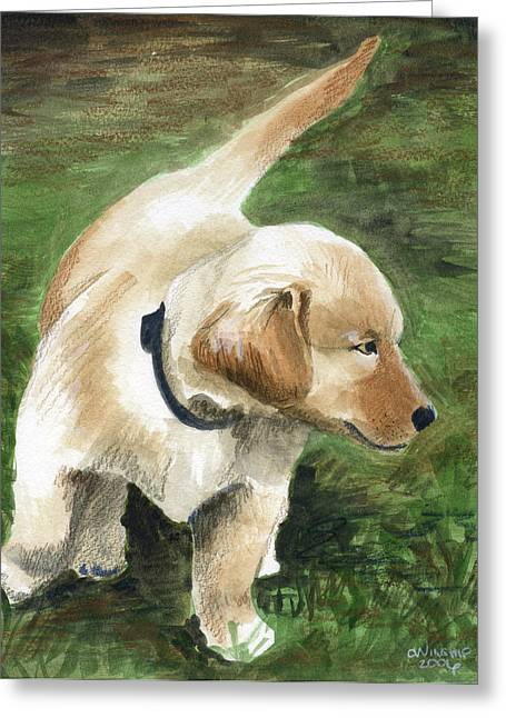 Puppies Mixed Media Greeting Cards - Puppy Patrol Greeting Card by Christine Winship