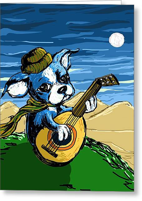 Puppies Digital Art Greeting Cards - Puppy Serenade Greeting Card by Devin Hermanson