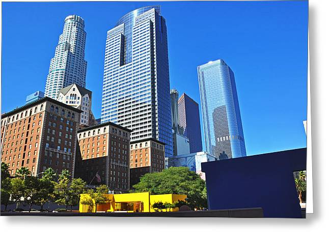 Usa Pyrography Greeting Cards - Purching Square Downtown L.A. Greeting Card by Steffen Schumann