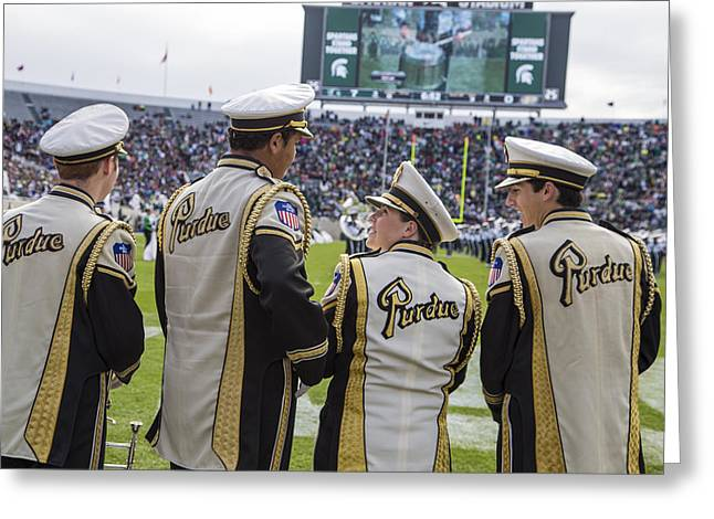 Marching Band Greeting Cards - Purdue Band Members at MSU Greeting Card by John McGraw