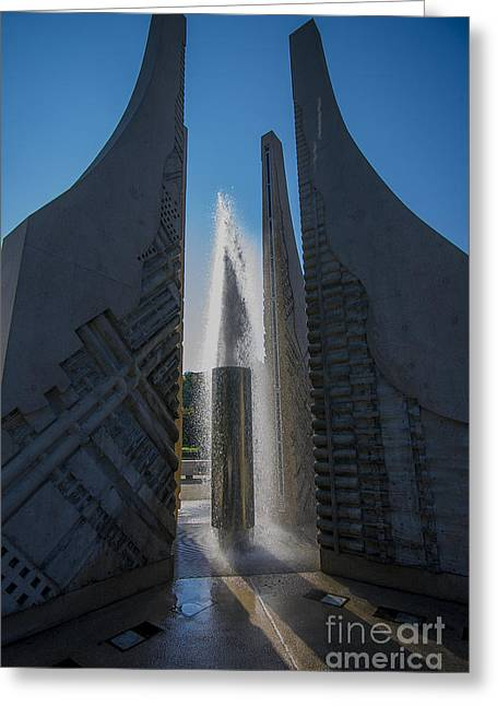 Campus Life Greeting Cards - Purdue Mall Water Fountain Greeting Card by David Haskett