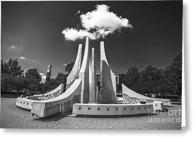 Campus Life Greeting Cards - Purdue University Mall Water Fountain Clouds Greeting Card by David Haskett