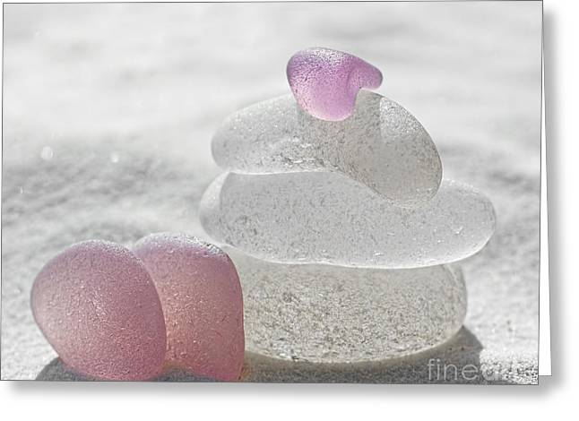 Pink Glass Greeting Cards - Pure As the Driven Sands Greeting Card by Barbara McMahon