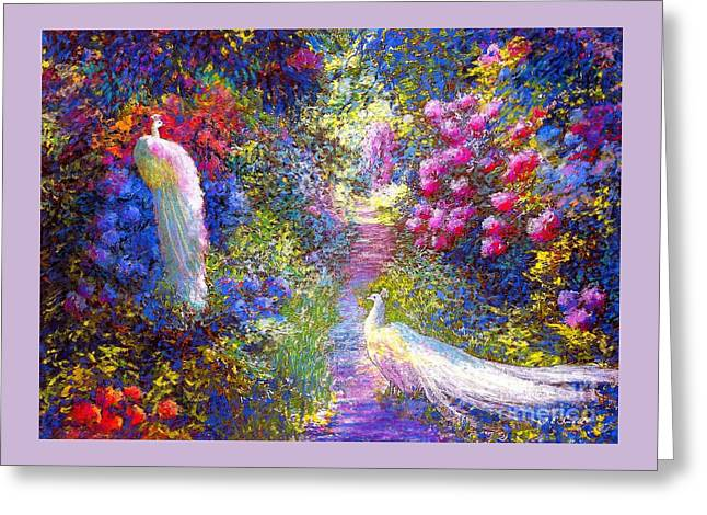 White Peacocks, Pure Bliss Greeting Card by Jane Small