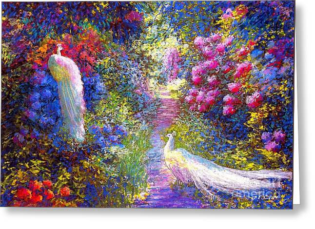 Garden Scene Greeting Cards - Pure Bliss Greeting Card by Jane Small
