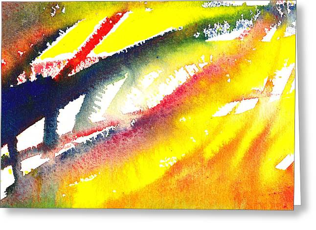 Abstract Movement Greeting Cards - Pure Color Inspiration Abstract Painting Conquering Flames Greeting Card by Irina Sztukowski