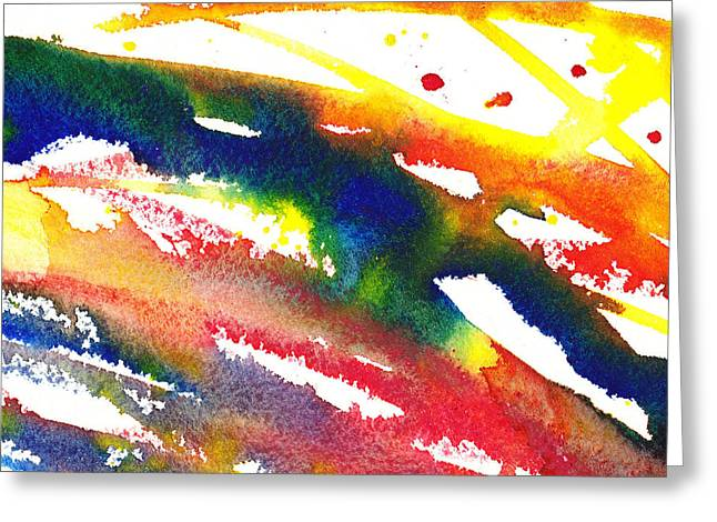 Pure Color Inspiration Abstract Painting Streaming Hue Greeting Card by Irina Sztukowski