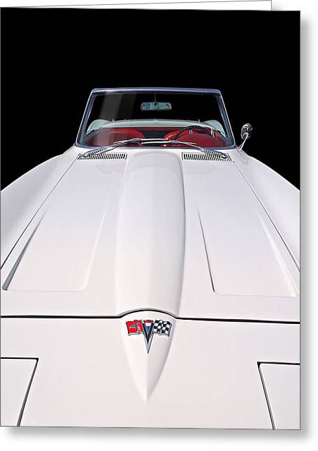Geometric Lines Greeting Cards - Pure Enjoyment - 1964 Corvette Stingray Greeting Card by Gill Billington