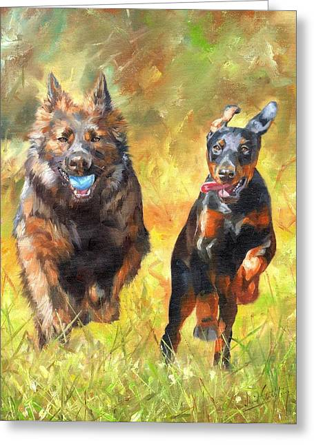 Dog Playing Ball Greeting Cards - Pure Joy Greeting Card by David Stribbling