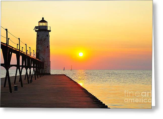 Pure Michigan Lighthouse Greeting Card by Terri Gostola
