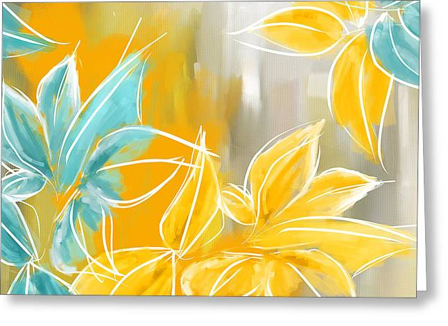 Blues And Yellows Greeting Cards - Pure Radiance Greeting Card by Lourry Legarde