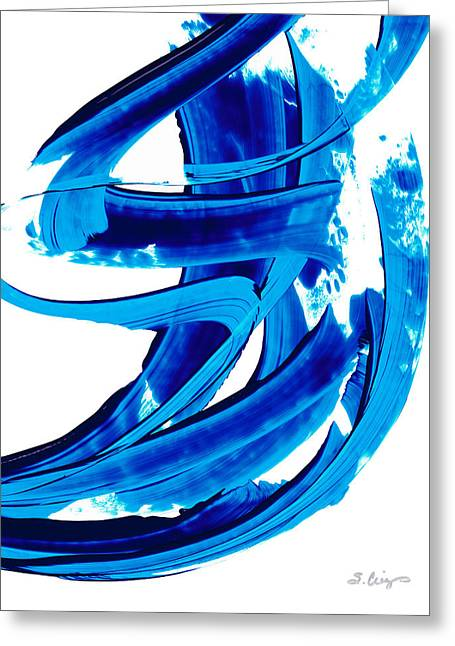 Wall Hanging Greeting Cards - Pure Water 304 - Blue Abstract Art by Sharon Cummings Greeting Card by Sharon Cummings
