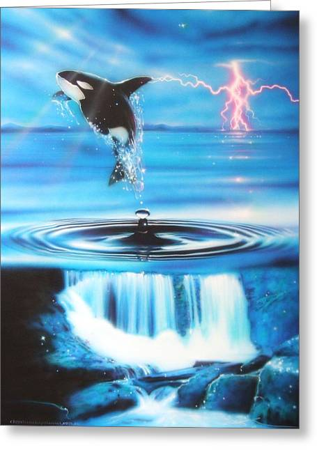 Sun Rays Paintings Greeting Cards - Pure Water Systems Greeting Card by Christian Chapman Art