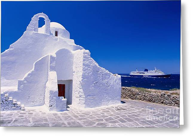 Dodecanese Greeting Cards - Pure white church Greeting Card by Aiolos Greek Collections