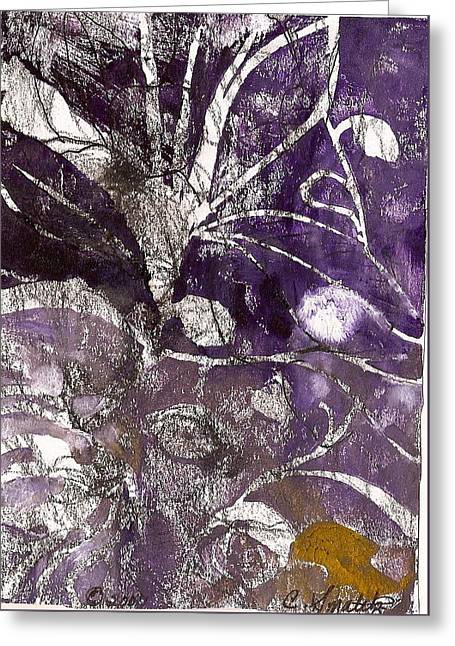 Purple Abstract Reliefs Greeting Cards - Purity is Passion Greeting Card by Claudia Smaletz