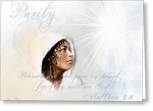 Spiritual Portrait Of Woman Greeting Cards - Purity Greeting Card by Jennifer Page