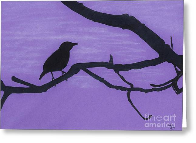 Skylines Pastels Greeting Cards - Purple - Bird - Silhouette Greeting Card by D Hackett