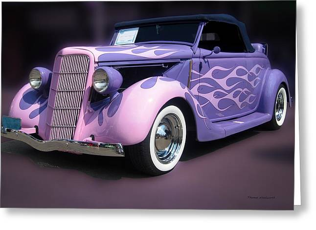 Purple 1935 Hot Rod Car Greeting Card by Thomas Woolworth