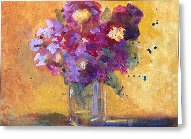 Purple Abstract Greeting Cards - Purple Abstract Greeting Card by Nancy Merkle