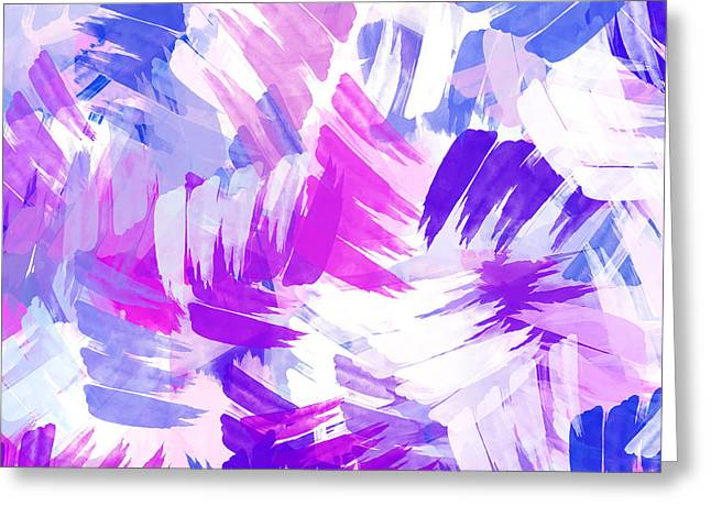 Assorted Paintings Greeting Cards - Purple Abstract Paint Pattern Greeting Card by Christina Rollo