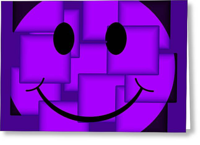 Smiley Faces Greeting Cards - Purple Abstract Smiley Face Greeting Card by David G Paul