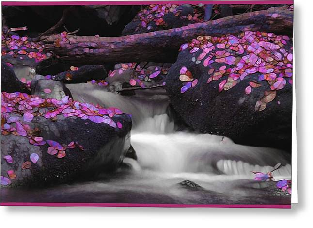 Purple Abstract Greeting Cards - Purple Abstract Waterfall Greeting Card by Dan Sproul