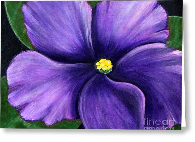 Purple African Violet Greeting Card by Barbara Griffin