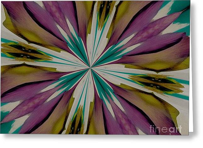 Olive Green Digital Art Greeting Cards - Purple and Aqua Petals Greeting Card by Marsha Heiken