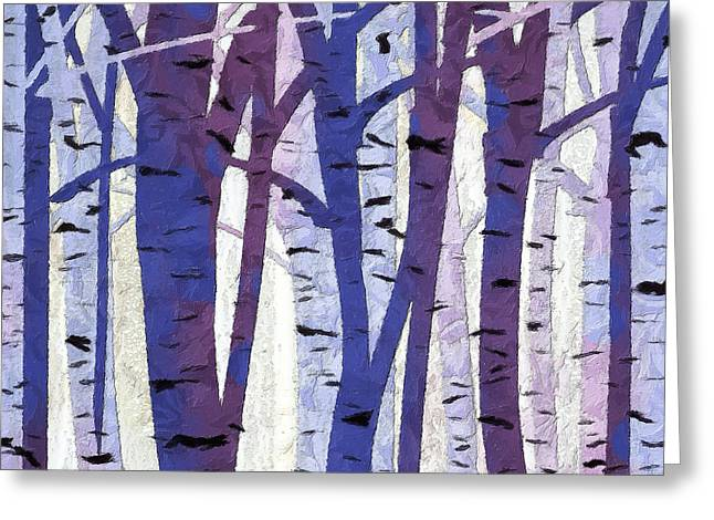 Blue And Purple Abstract Greeting Cards - Plum and Blue Birch Trees - Plum and Blue Art Greeting Card by Lourry Legarde