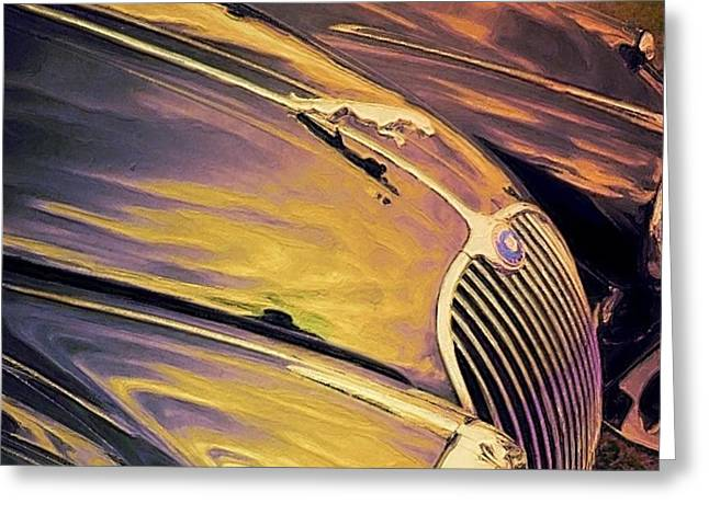 Vintage Hood Ornaments Paintings Greeting Cards - Purple and Gold Antique Jaguar - Horizontal Greeting Card by Lyn Voytershark