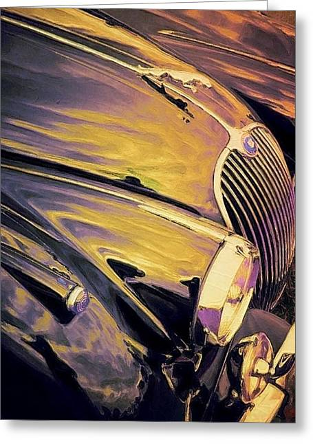 Vintage Hood Ornaments Paintings Greeting Cards - Purple and Gold Antique Jaguar - Vertical Greeting Card by Lyn Voytershark
