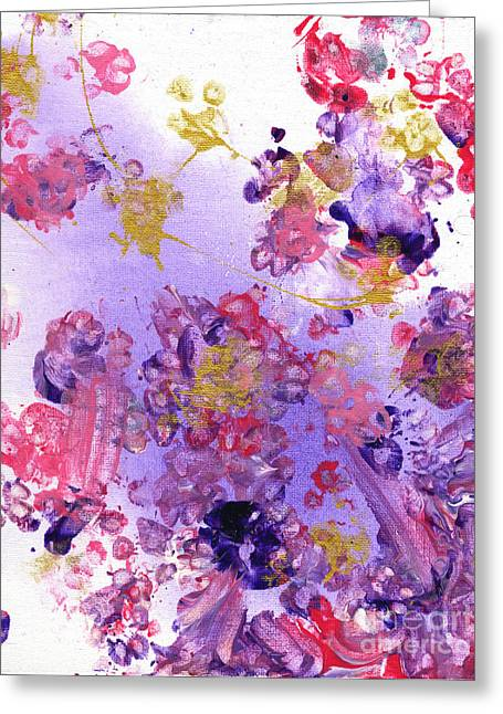 Collaborative Greeting Cards - Purple and Gold Paws Greeting Card by Antony Galbraith